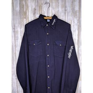 Vtg Wrangler Embroidered Spellout XL Blue